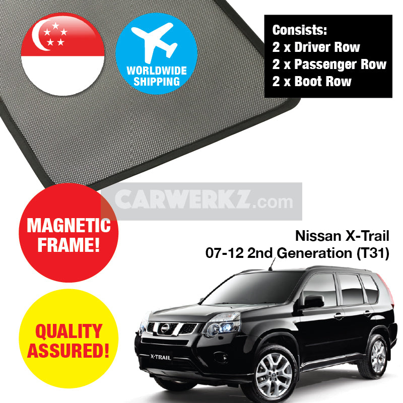 Nissan X-Trail 2007-2012 2nd Generation (T31) Customised Car Window Magnetic Sunshades 4 Pieces - CarWerkz