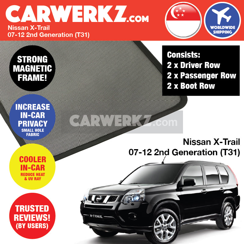 Nissan X-Trail Rogue 2007-2013 2nd Generation (T31) Japan Compact Crossover SUV Customised Car Window Magnetic Sunshades