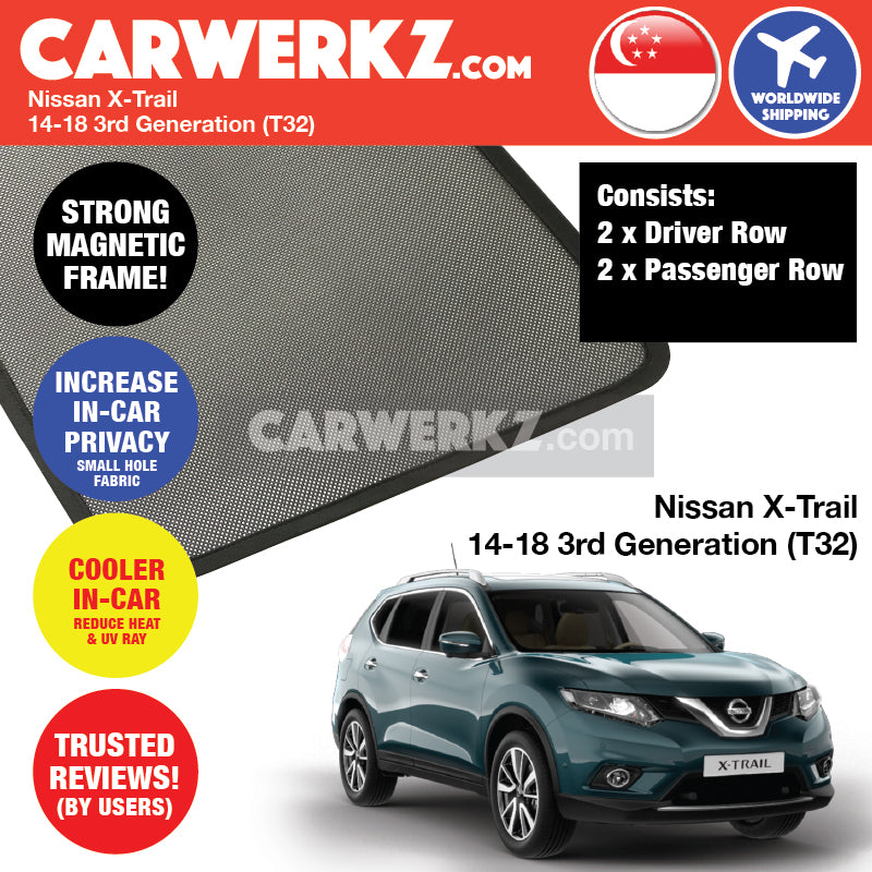 Nissan X-Trail Rogue 2013-2019 3rd Generation (T32) Japan Compact Crossover SUV Customised Car Window Magnetic Sunshades 4 Pieces - CarWerkz