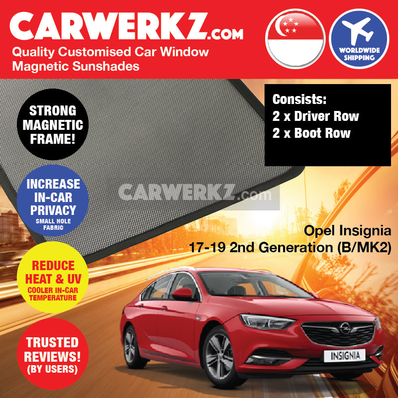 Opel Insignia Sedan 2017 2018 2019 2nd Generation (B MKII) Germany Automotive Customised Car Window Magnetic Sunshades 4 Pieces - carwerkz sg au my nz