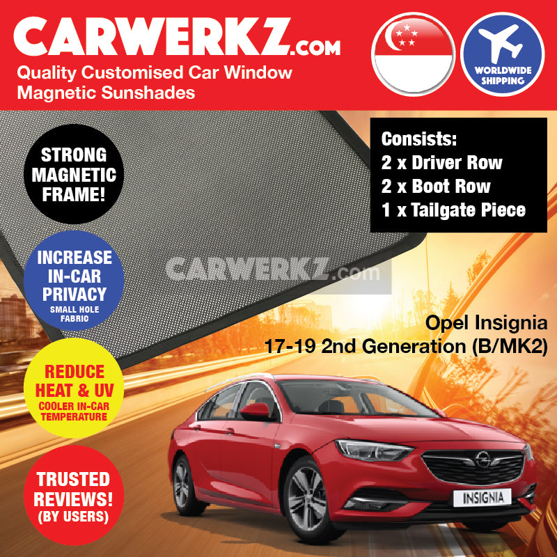 Opel Insignia Sedan 2017 2018 2019 2nd Generation (B MKII) Germany Automotive Customised Car Window Magnetic Sunshades + Rear Tailgate Sunshade 1 Piece FULL SET - carwerkz sg my au nz