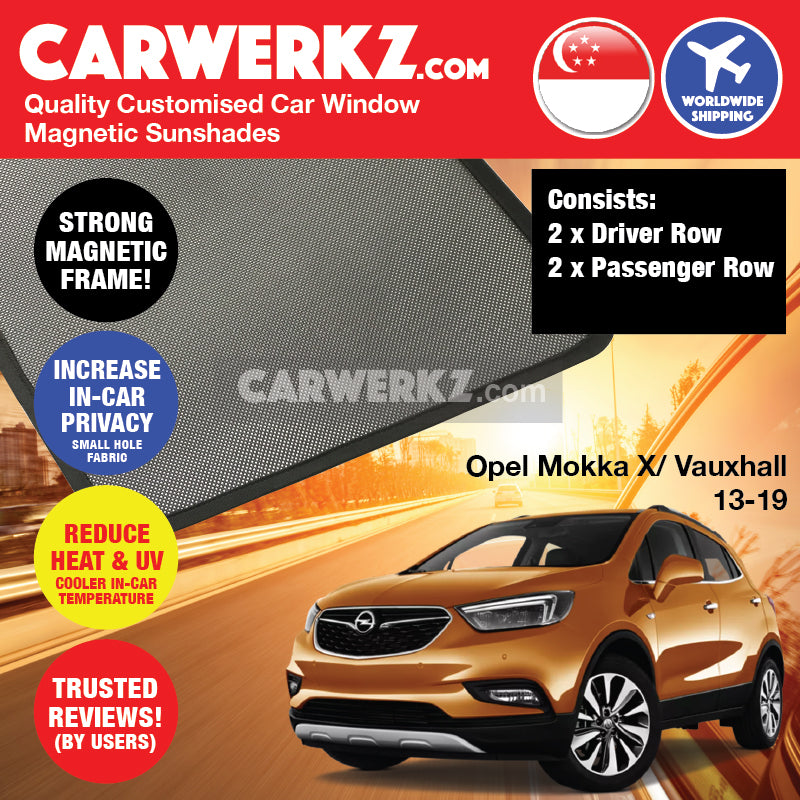 Opel Mokka X Vauxhall Buick Encore 2013 2014 2015 2016 2017 2018 2019 Germany Automotive Customised Car Window Magnetic Sunshades 4 Pieces - carwerkz singapore australia malaysia