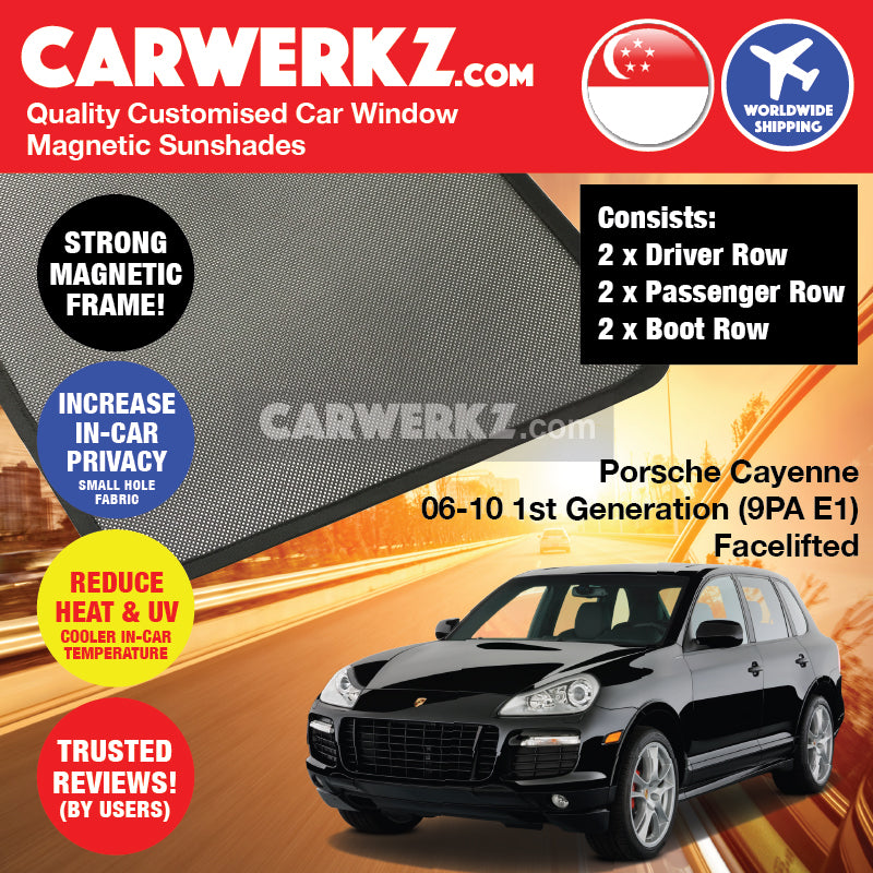 Porsche Cayenne 2003-2013 1st Generation (9PA E1) Germany Luxury Mid Size Compact Crossover Customised Car Window Magnetic Sunshades - CarWerkz