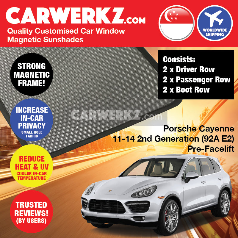 Porsche Cayenne 2011 2012 2013 2014 2nd Generation (92A E2) PRE-FACELIFT Germany Luxury Mid Size Compact Crossover Customised Car Window Magnetic Sunshades 6 Pieces - carwerkz singapore australia malaysia