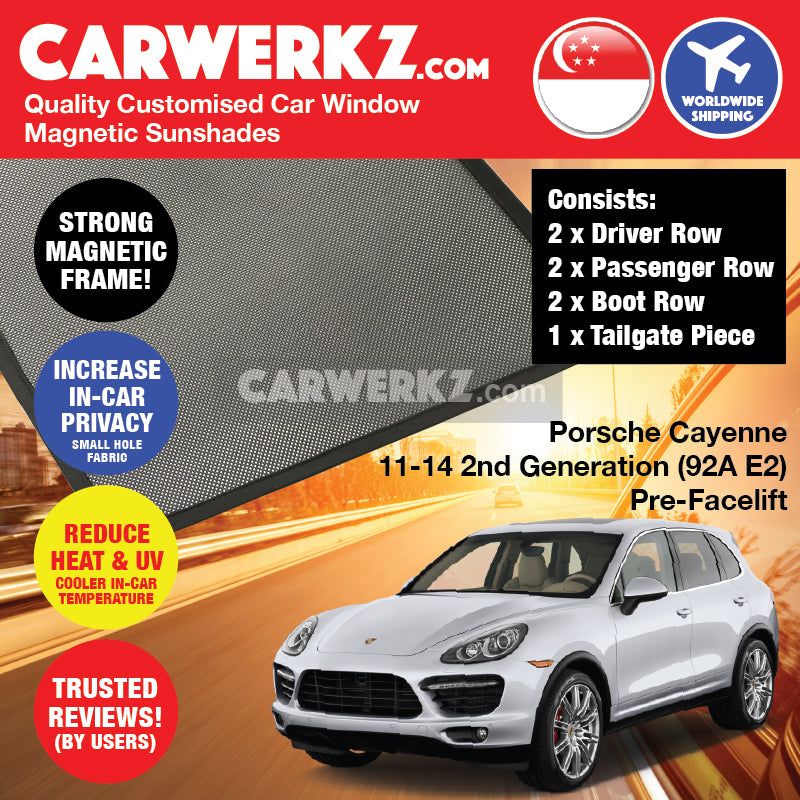 Porsche Cayenne 2011-2014 2nd Generation (92A E2) PRE-FACELIFT Germany Luxury Mid Size Compact Crossover Customised Car Window Magnetic Sunshades - CarWerkz