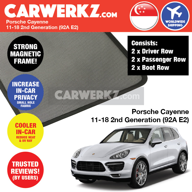 Porsche Cayenne 2015-2017 2nd Generation (92A E2) FACELIFTED Germany Mid Size Luxury Crossover Customised Car Window Magnetic Sunshades 6 Pieces
