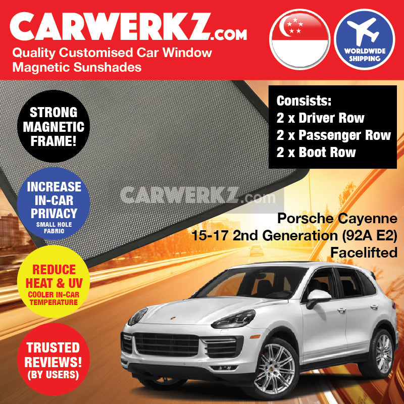 Porsche Cayenne 2015 2016 2017 2nd Generation (92A E2) FACELIFTED Germany Mid Size Luxury Crossover Customised Car Window Magnetic Sunshades 6 Pieces - carwerkz singapore australia malaysia