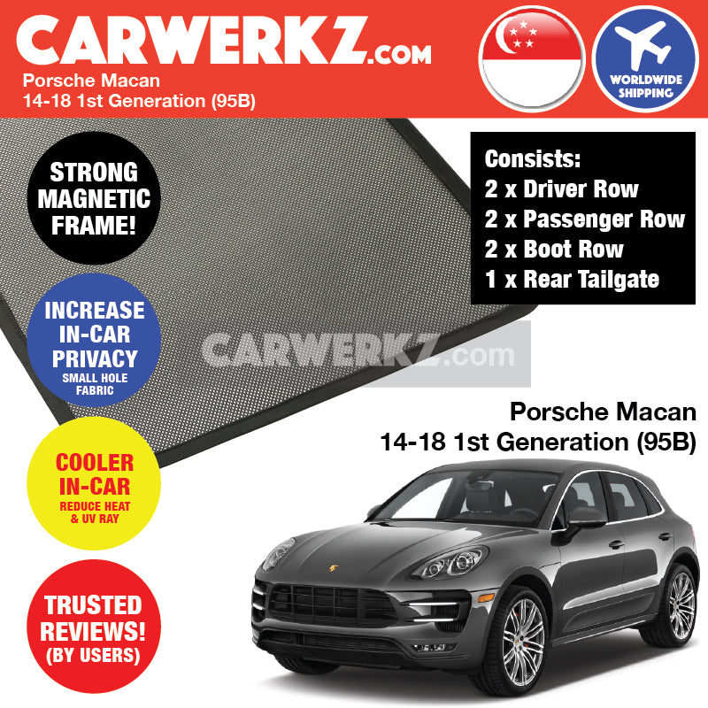 Porsche Macan 2014-2018 1st Generation (95B) Customised Car Window Magnetic Sunshades 6 Pieces + Rear Tailgate 1 Piece - CarWerkz