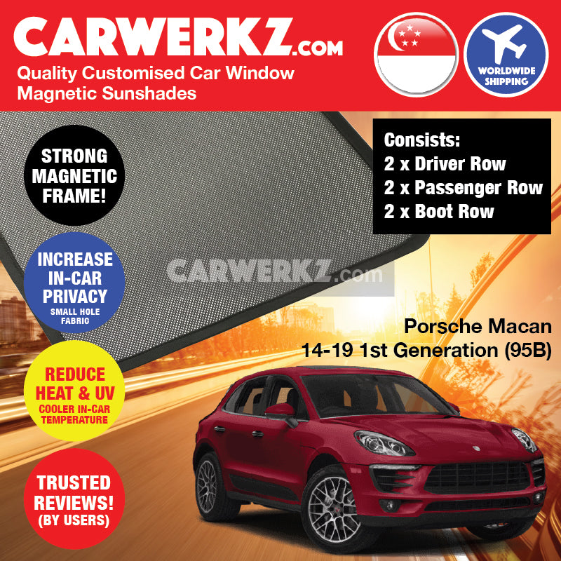 Porsche Macan 2014 2015 2016 2017 2018 2019 1st Generation (95B) Germany Luxury Crossover Customised Car Window Magnetic Sunshades 6 Pieces - carwerkz singapore australia malaysia