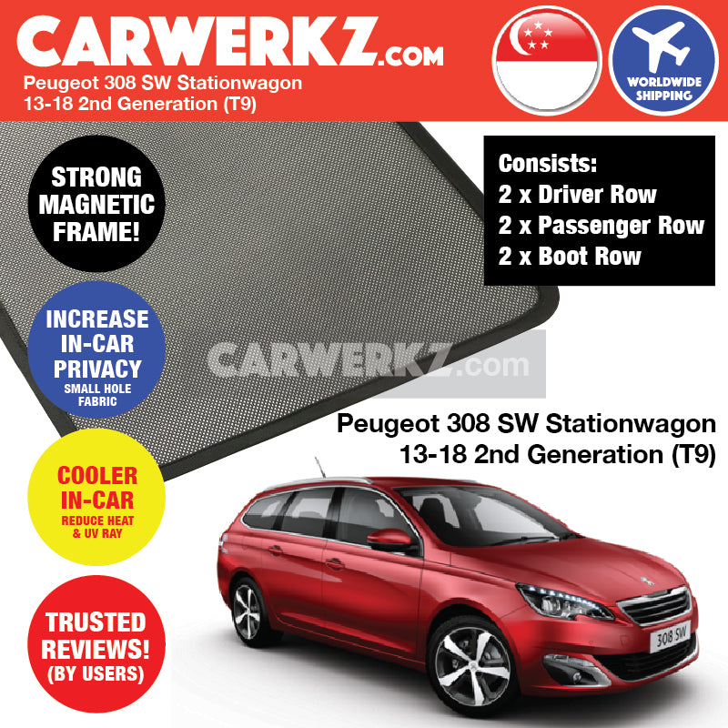 Peugeot 308 SW 2013-2017 2nd Generation (T9) Magnetic Sunshades - CarWerkz