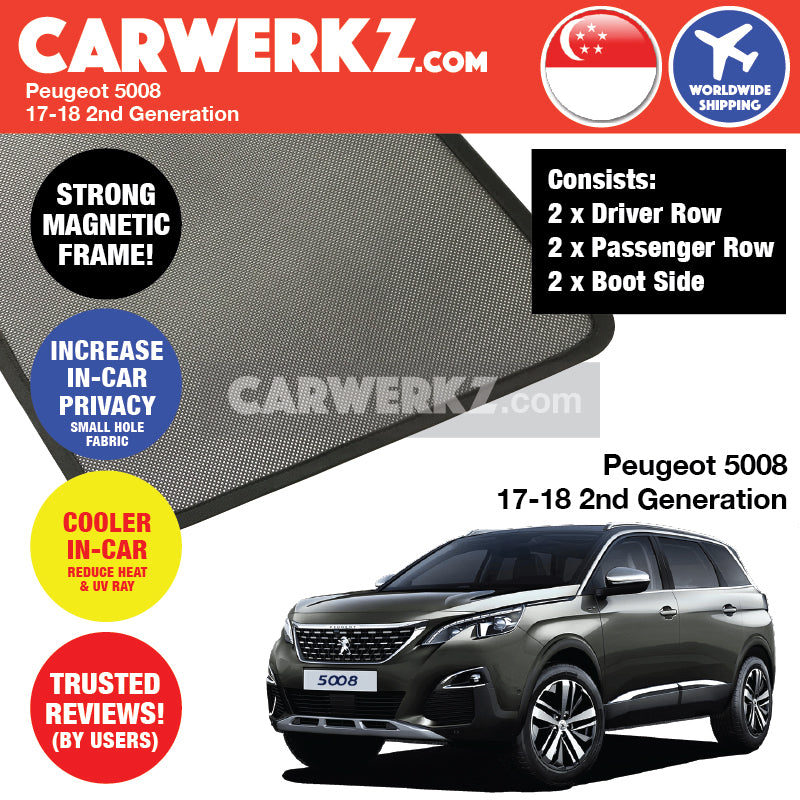 Peugeot 5008 II 2017-2020 2nd Generation (T87) France Compact Crossover SUV Customised Car Window Magnetic Sunshades - CarWerkz