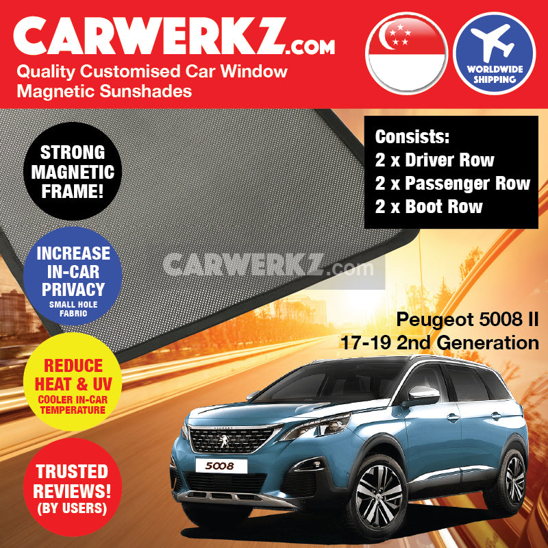 Peugeot 5008 II 2017-2019 2nd Generation France Compact Crossover SUV Customised Car Window Magnetic Sunshades - CarWerkz