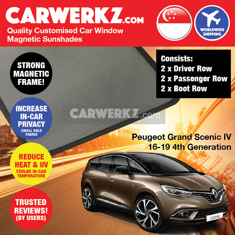 Renault Grand Scenic IV 2016 2017 2018 2019 4th Generation France Compact Multi Purpose Vehicle Customised MPV Window Magnetic Sunshades 6 Pieces - CarWerkz sg au my fr de se mc