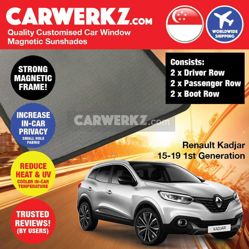 Renault Kadjar 2015-2019 1st Generation France Compact SUV Customised Car Window Magnetic Sunshades 6 Pieces - CarWerkz