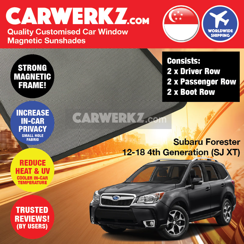 Subaru Forester 2012 2013 2014 2015 2016 2017 2018 4th Generation (SJ XT) Japanese Subcompact Crossover SUV Customised SUV Window Magnetic Sunshades 6 Pieces - CarWerkz
