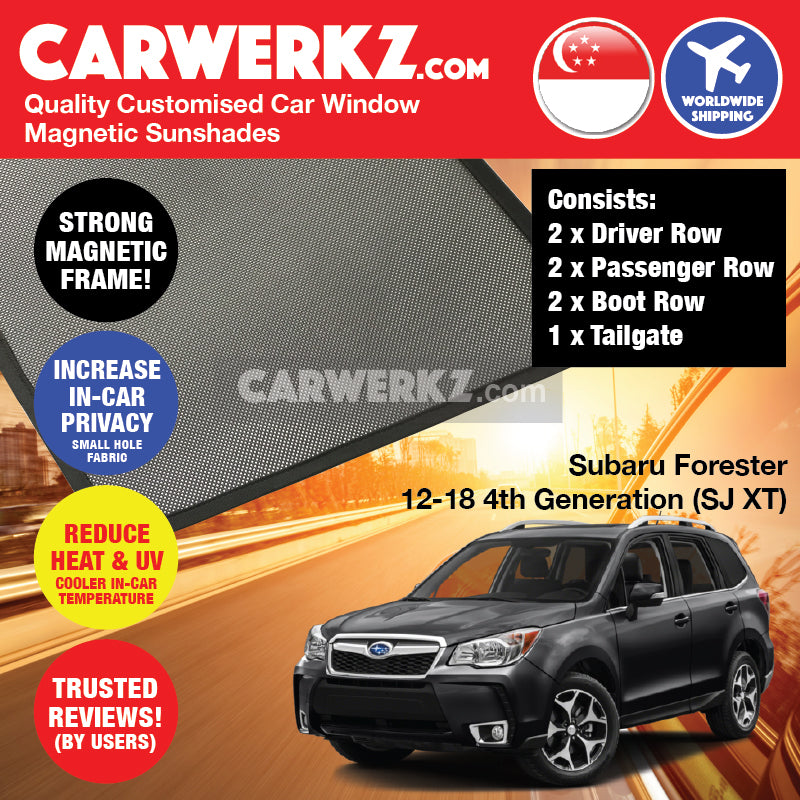 Subaru Forester 2012 2013 2014 2015 2016 2017 2018 4th Generation SJ XT Japanese Subcompact Crossover SUV Customised SUV Window Magnetic Sunshades 7 Pieces FULL SET - CarWerkz Singapore