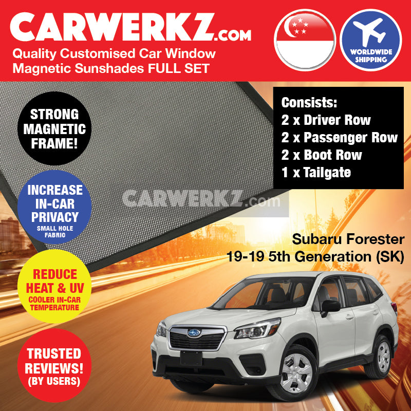 Subaru Forester 2019 5th Generation SK Japanese Subcompact Crossover SUV Customised SUV Window Magnetic Sunshades 7 Pieces FULL SET - CarWerkz