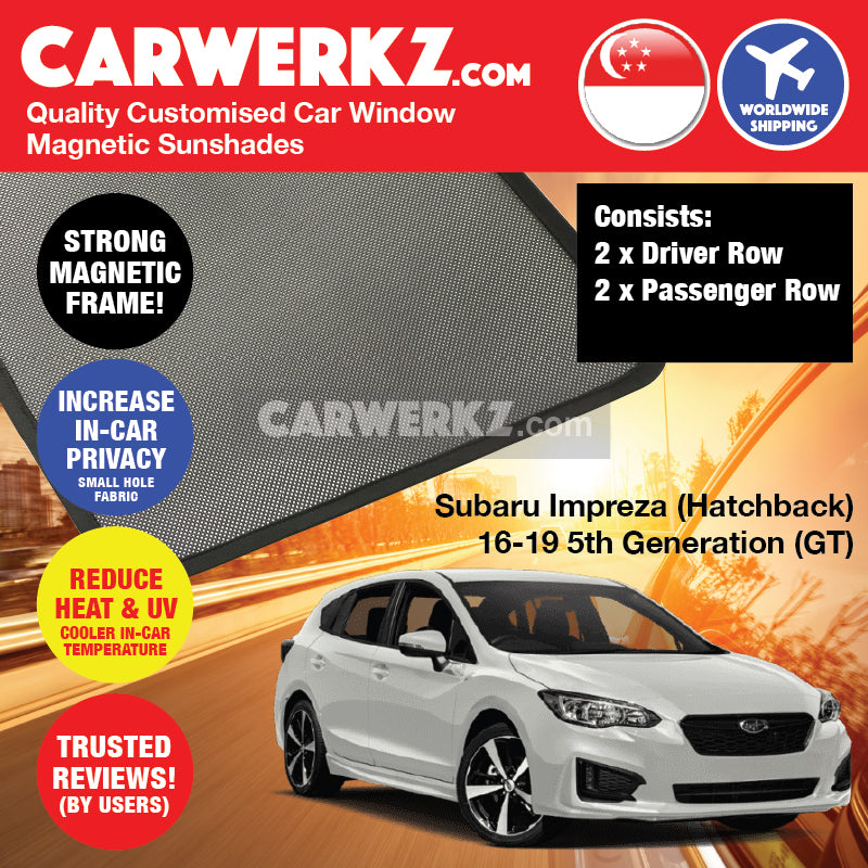Subaru Impreza Hatchback 2016-2019 5th Generation (GT) Japan Automotive Customised Car Magnetic Sunshades - CarWerkz