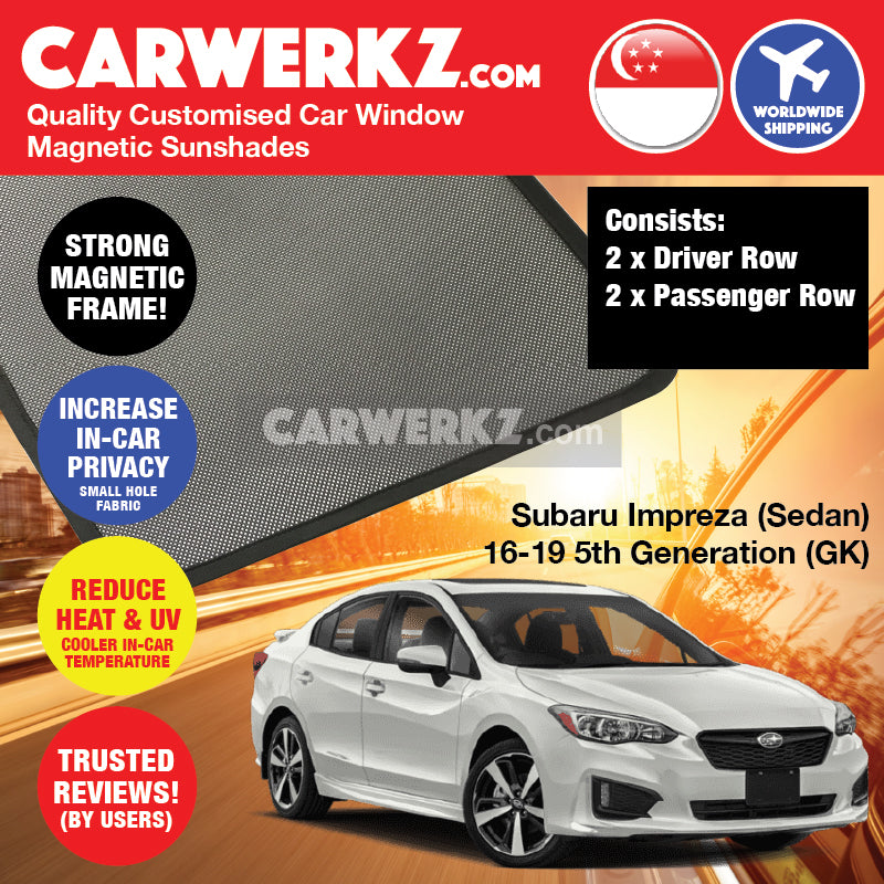 Subaru Impreza Sedan 2016-2020 5th Generation (GK) Japan Automotive Customised Car Window Magnetic Sunshades - CarWerkz