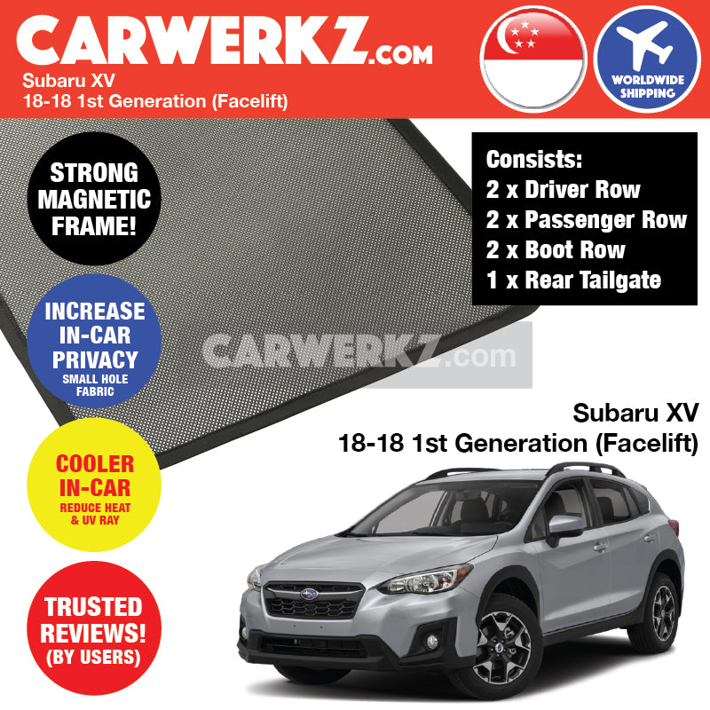 Subaru XV Crosstrek 2018-2018 (Facelift) Customised Car Window Magnetic Sunshades 6 Pieces + Rear Tailgate 1 Piece - CarWerkz