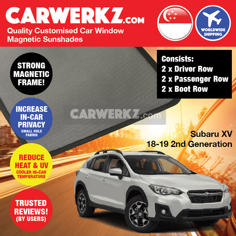 Subaru XV Crosstrek 2018 2019 2nd Generation Japan Crossover Customised SUV Window Magnetic Sunshades - carwerkz sg my au nz