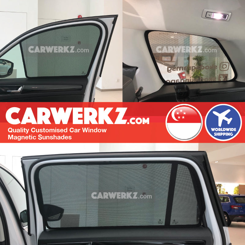 Skoda Kodiaq 2016 2017 2018 2019 Czech Republic Mid Size Crossover Customised SUV Window Magnetic Sunshades 6 Pieces installed photos fitting pictures - carwerkz singapore malaysia australia