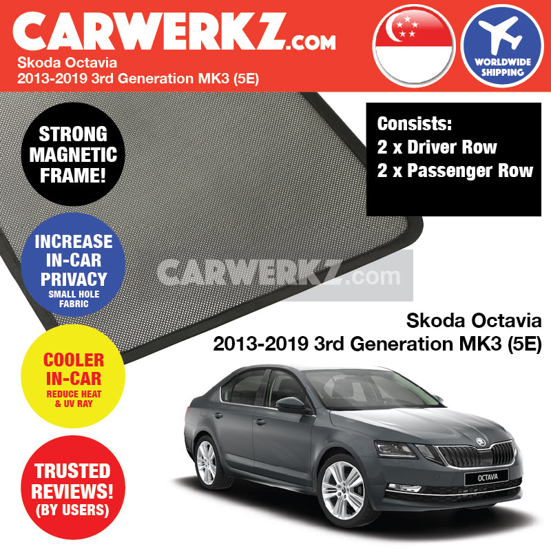 Skoda Octavia 2013-2019 MK3 3rd Generation (5E) Customised Czech Republic Sedan Car Window Magnetic Sunshades - CarWerkz