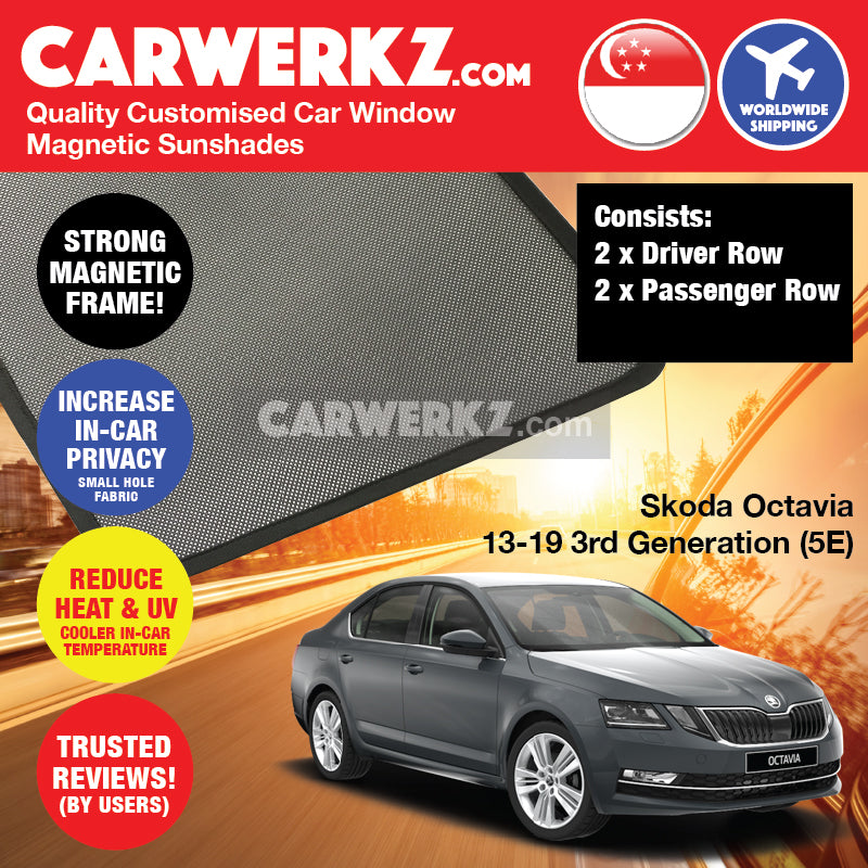 Skoda Octavia 2013-2019 MK3 3rd Generation (5E) Customised Czech Republic Sedan Car Window Magnetic Sunshades
