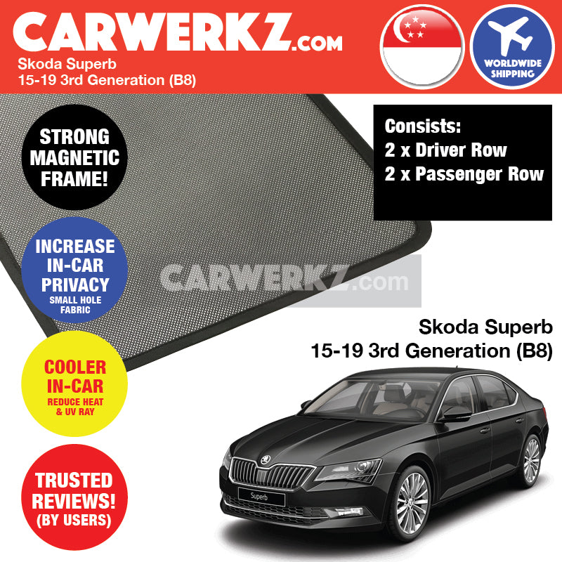 Skoda Superb 2015-2020 3rd Generation (B8 3V) Customised Czech Republic Sedan Car Window Magnetic Sunshades - CarWerkz