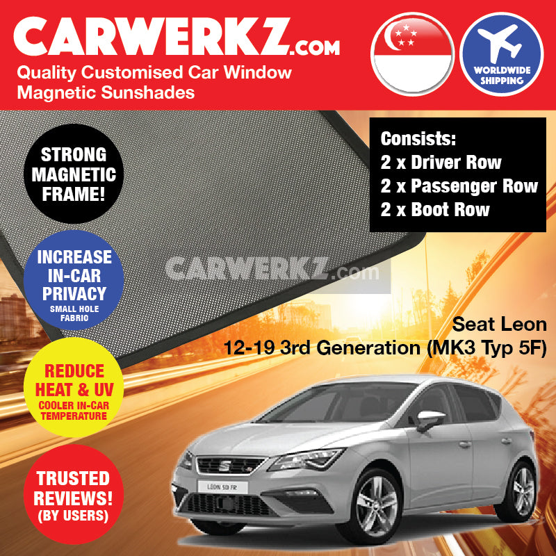 Seat Leon 2012-2019 3rd Generation (MK3 Typ 5F) Spain Hatchback Compact Customised Car Window Magnetic Sunshades 6 Pieces - CarWerkz