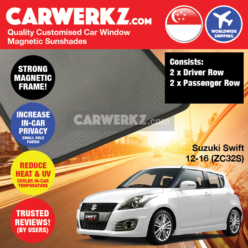 Suzuki Swift 2010-2017 3rd Generation (ZC72S ZC82S ZC32S) Japan Hatchback Customised Car Window Magnetic Sunshades - CarWerkz