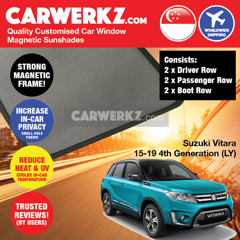 Suzuki Vitara 2015-2020 4th Generation (LY) Japan Compact SUV Customised Car Window Magnetic Sunshades