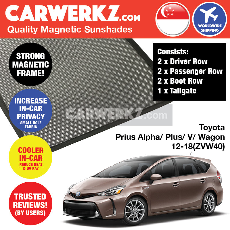 Toyota Prius Alpha Prius V Prius Plus Grand Prius Wagon 2012 2013 2014 2015 2016 2017 2018 (ZVW40) Customised Car Magnetic Sunshades FULL SET - CarWerkz
