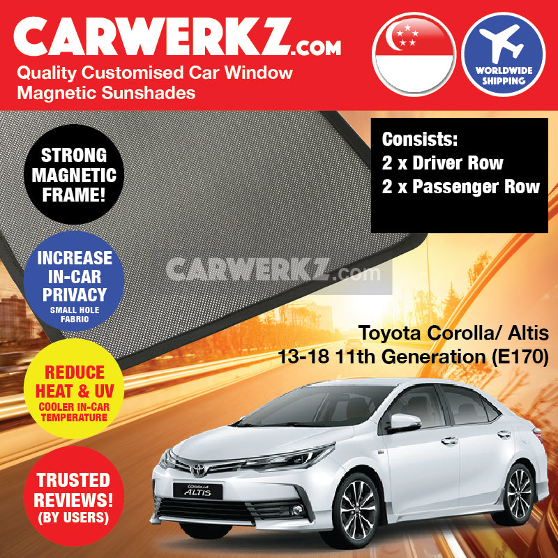Toyota Corolla Altis 2013 2014 2015 2016 2017 2018 11th Generation (E170) Japan Sedan Customised Car Window Magnetic Sunshades - carwerkz sg my au