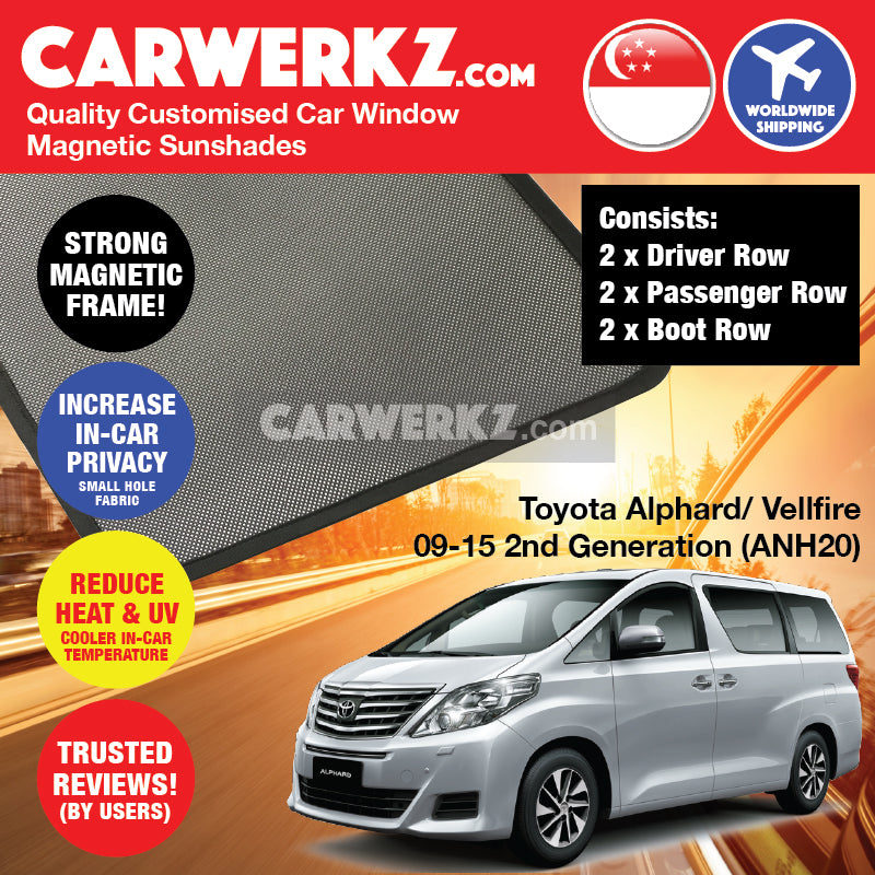 Toyota Alphard Vellfire 2008 2009 2010 2011 2012 2013 2014 2015 2nd Generation (ANH20) Japan MPV Customised Car Window Magnetic Sunshades - carwerkz sg au nz in id