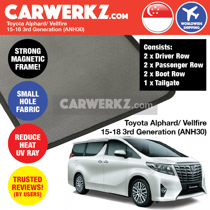 Toyota Alphard Vellfire 2015 2016 2017 2018 3rd Generation (ANH30) Customised Japanese Large MPV Window Magnetic Sunshades FULL SET - CarWerkz