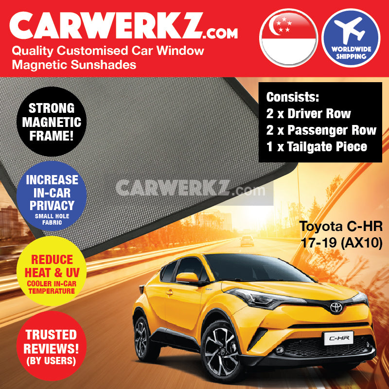 Toyota C-HR CHR 2017 2018 2019 (AX10) Japan Subcompact Crossover SUV Customised Car Window Magnetic Sunshades + Tailgate Piece - carwerkz sg my au nz jp ph