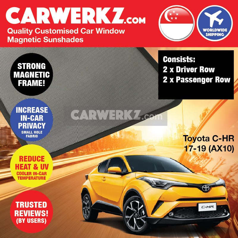 Toyota C-HR CHR 2017-2020 1st Generation (AX10) Japan Subcompact Crossover SUV Customised Car Window Magnetic Sunshades - CarWerkz