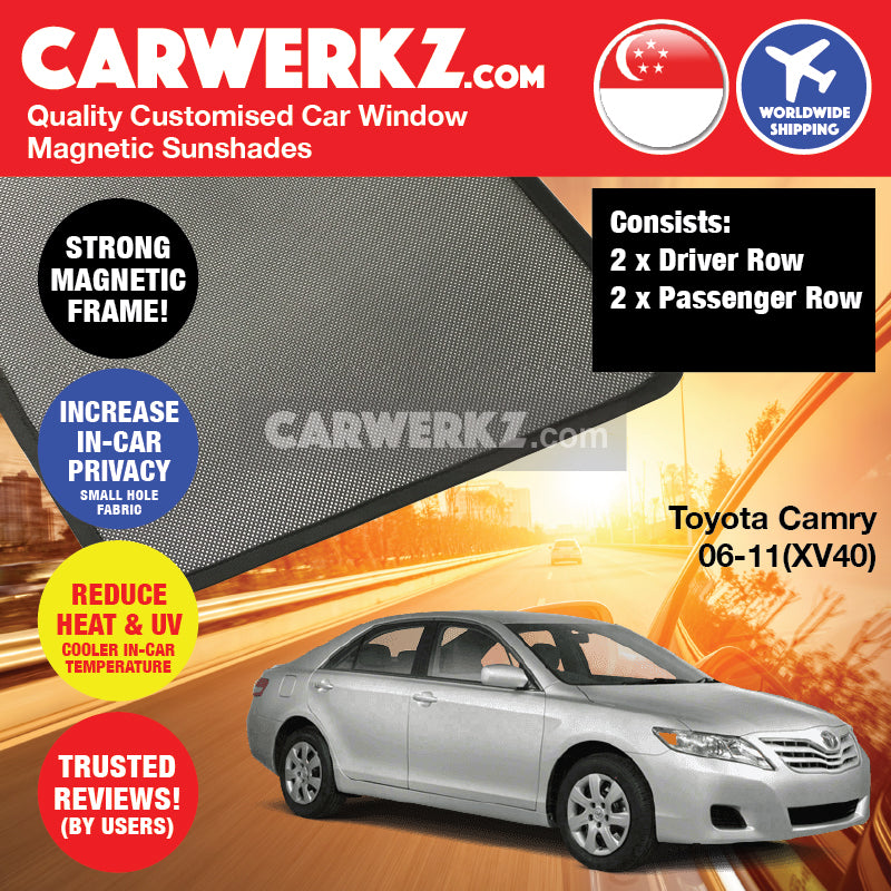 Toyota Camry 2006-2011 (XV40) Japan Executive Sedan Customised Car Window Magnetic Sunshades - CarWerkz