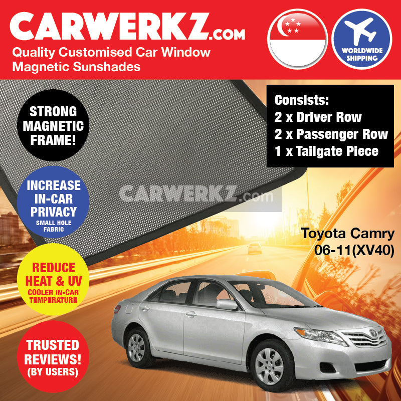 Toyota Camry 2006-2011 (XV40) Japan Executive Sedan Customised Car Window Magnetic Sunshades + Tailgate 1 Piece FULL SET - CarWerkz