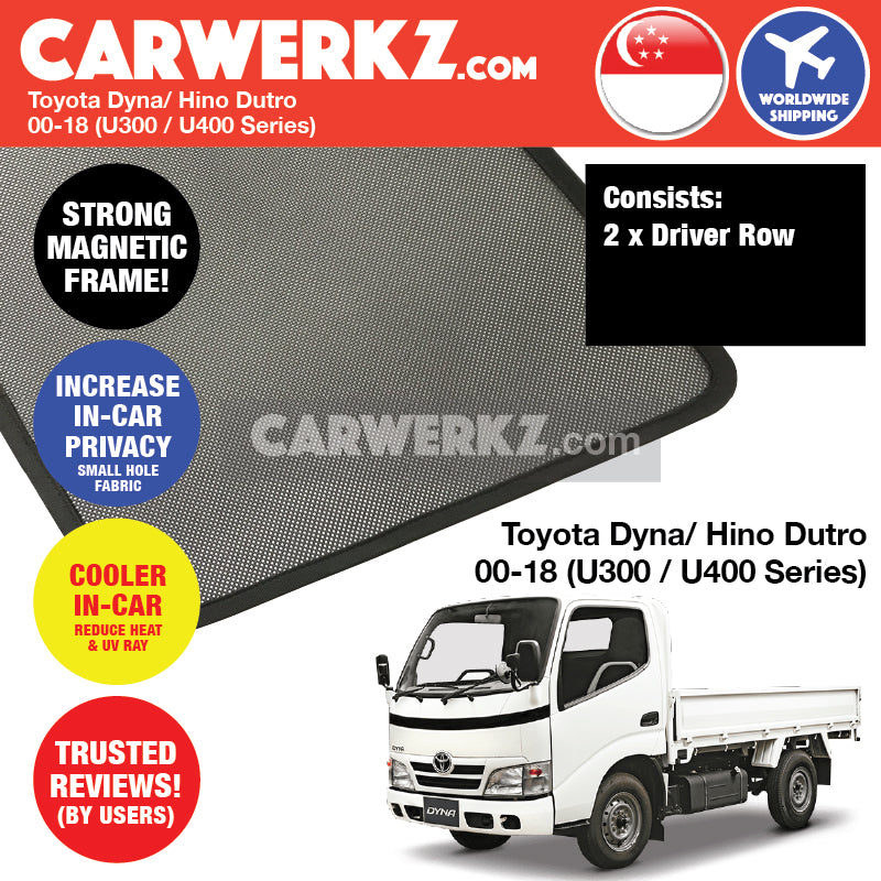 Toyota Dyna Hino Dutro 2000-2018 (U300 U400 Series) Customised Lorry Truck Window Magnetic Sunshades - CarWerkz