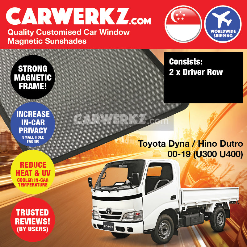 Toyota Dyna Hino Dutro 2000 2001 2002 2003 2004 2005 2006 2007 2008 2009 2010 2011 2012 2013 2014 2015 2016 2017 2018 2019 (U300 U400 Series) Customised Medium Duty Lorry Truck Window Magnetic Sunshades - carwerkz sg my au