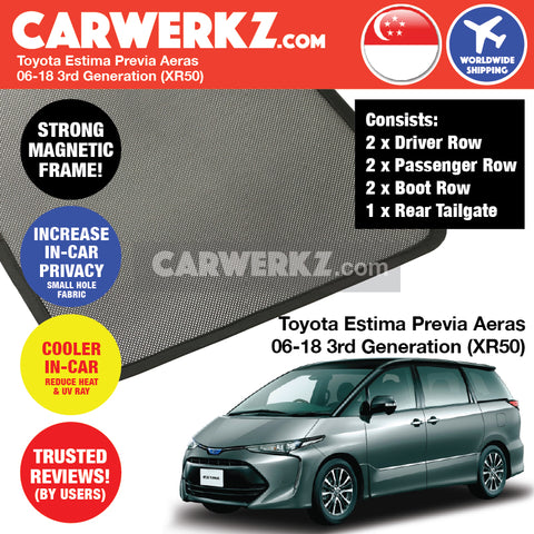 Toyota Estima Previa Aeras mpv multi purpose vehicles car accessories 2006 2007 2008 2009 2010 2011 2012 2013 2014 2015 2016 2017 2018 3rd Generation (XR50) Customised Car Window Magnetic Sunshades 6 Pieces + Rear Tailgate 1 Piece