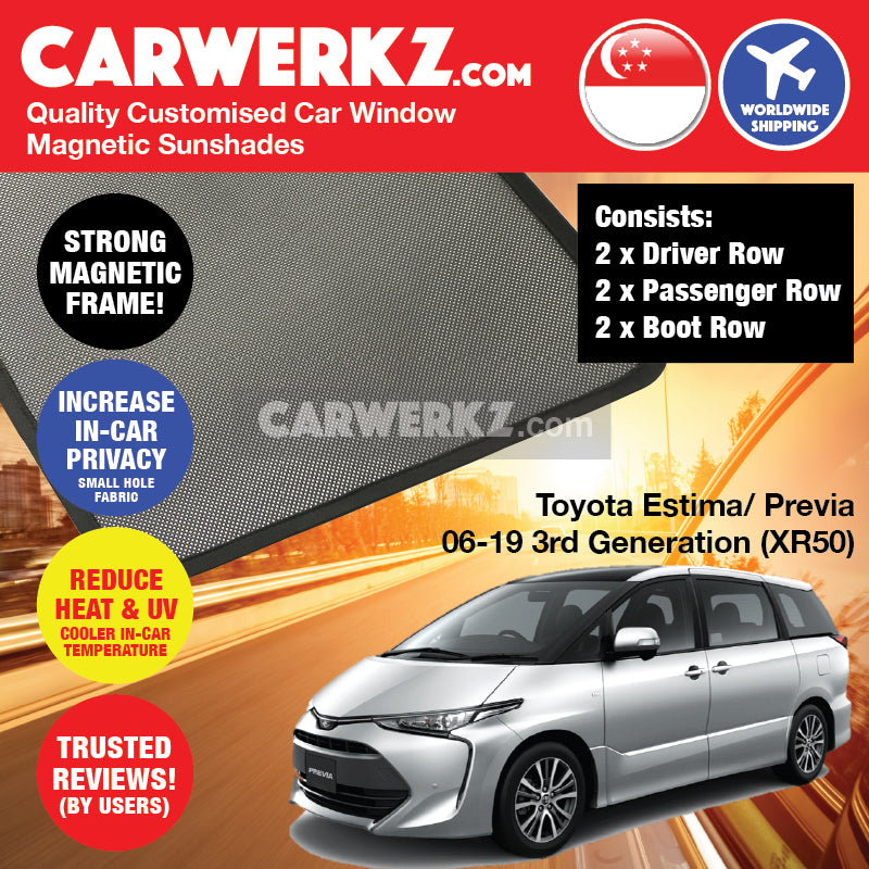 Toyota Estima Previa Aeras 2006-2019 3rd Generation (XR50) Japan MPV Customised Car Window Magnetic Sunshades 6 Pieces - CarWerkz