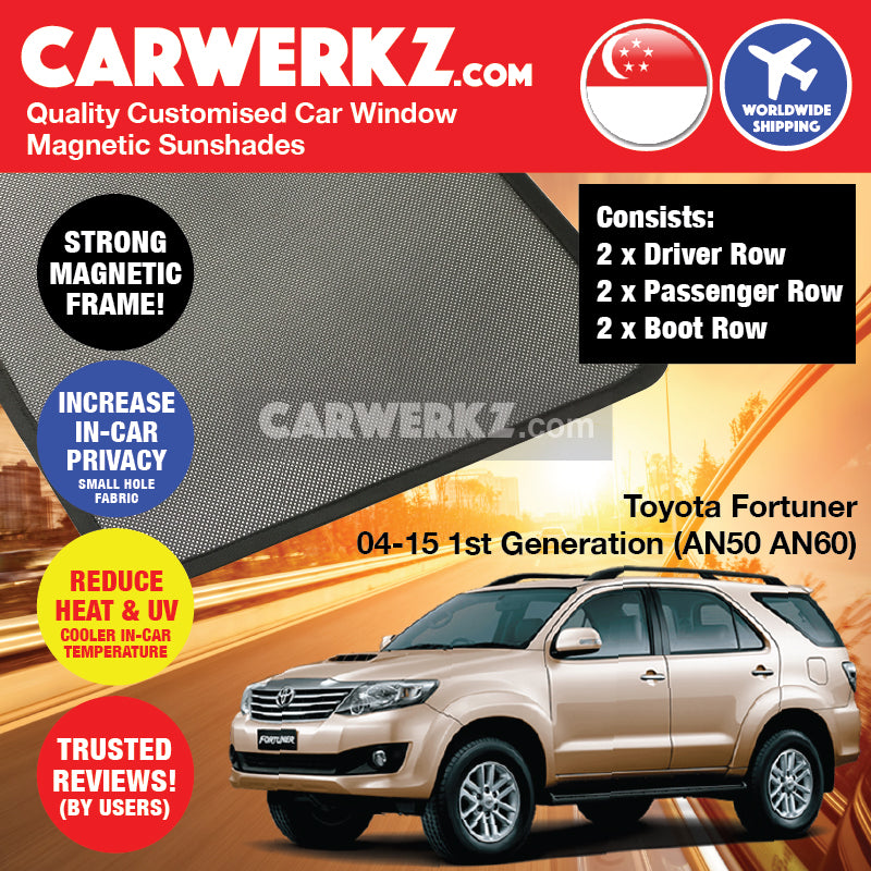 Toyota Fortuner SW4 2004-2015 1st Generation (AN50 AN60) Japan Mid Size SUV Customised Car Window Magnetic Sunshades