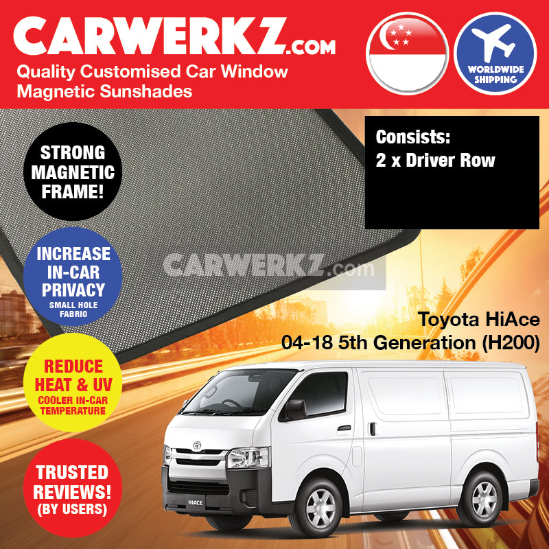 Toyota HiAce 2004-2018 5th Generation (H200) Customised Japan Commericial Van Window Magnetic Sunshades -carwerkz sg my au