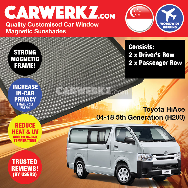 Toyota HiAce 2004-2019 5th Generation (H200) Customised Japan Commericial Van Window Magnetic Sunshades 4 Pieces - CarWerkz