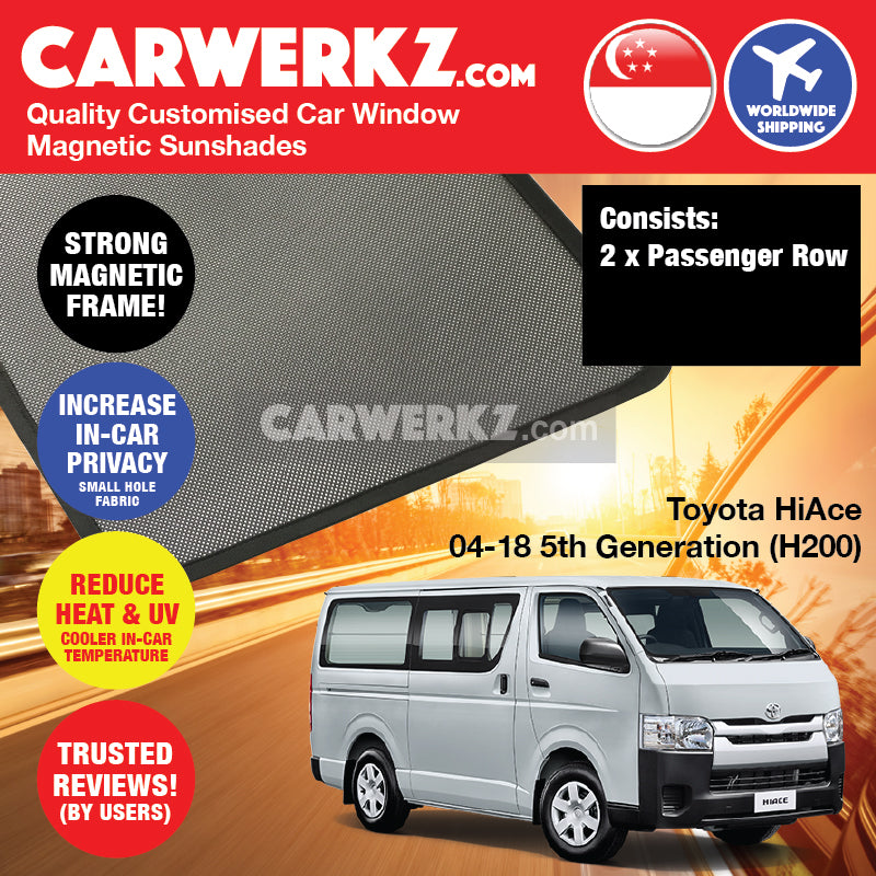 Toyota HiAce 2004-2018 5th Generation (H200) Customised Japan Commericial Van Passenger Window Magnetic Sunshades - CarWerkz