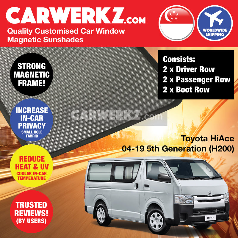 Toyota HiAce 2004-2020 5th Generation (H200) Customised Japan Commericial Van Window Magnetic Sunshades - CarWerkz