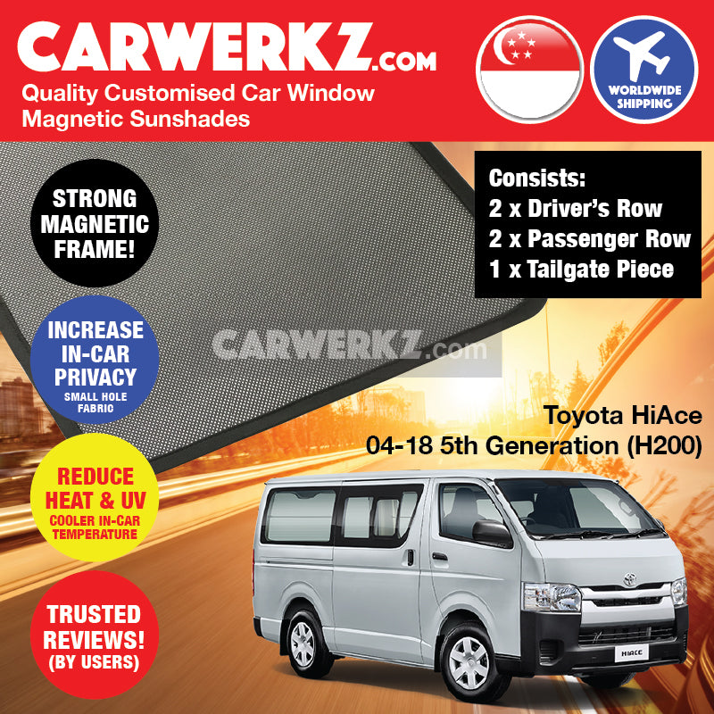 Toyota HiAce 2004-2019 5th Generation (H200) Customised Japan Commericial Van Window Magnetic Sunshades 4 Pieces + Tailgate 1 Piece FULL SET - CarWerkz